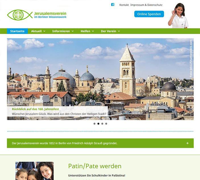 Webdesign: Webseite vom Jerusalemsverein